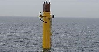 Tower is placed underwater on the foundation post